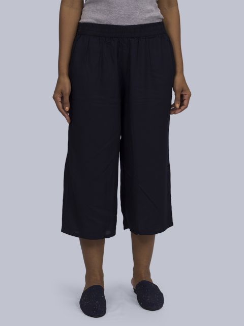 Women's Solid Culottes - Navy