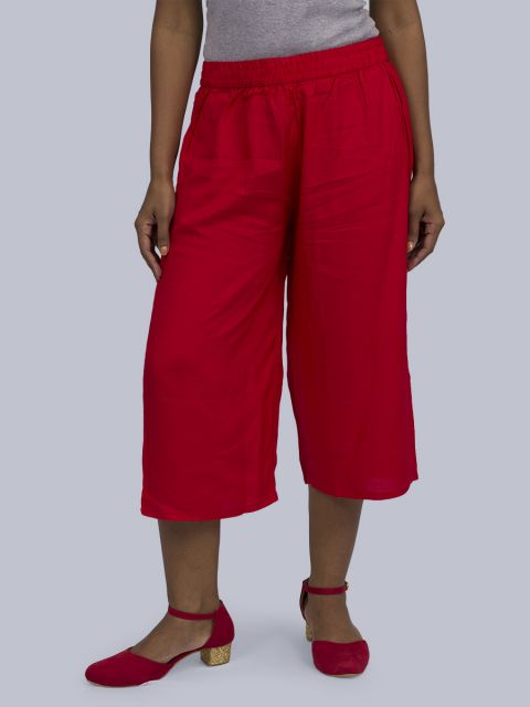 Women's Solid Culottes - Red