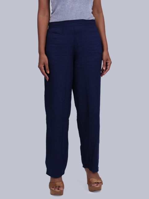 Women's Solid Pant Palazzo - Navy
