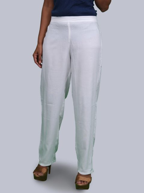 Women's Solid Pant Palazzo - White