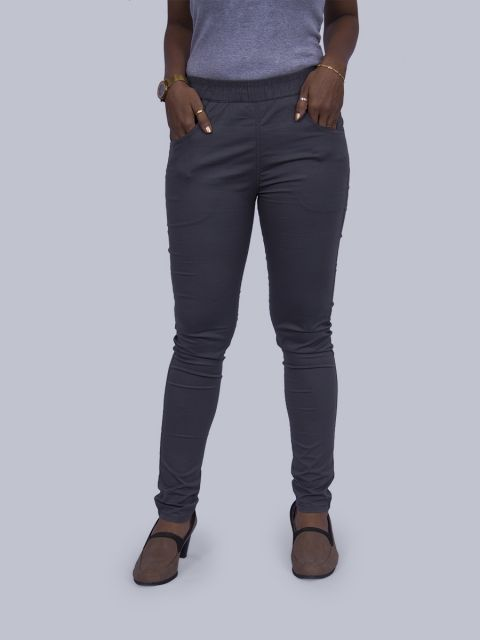 Solid Stretchable Pant - Dark Grey