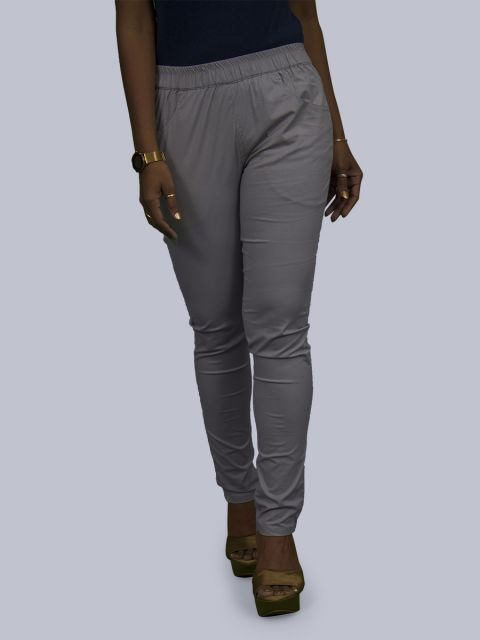 Solid Stretchable Pant - Light Grey