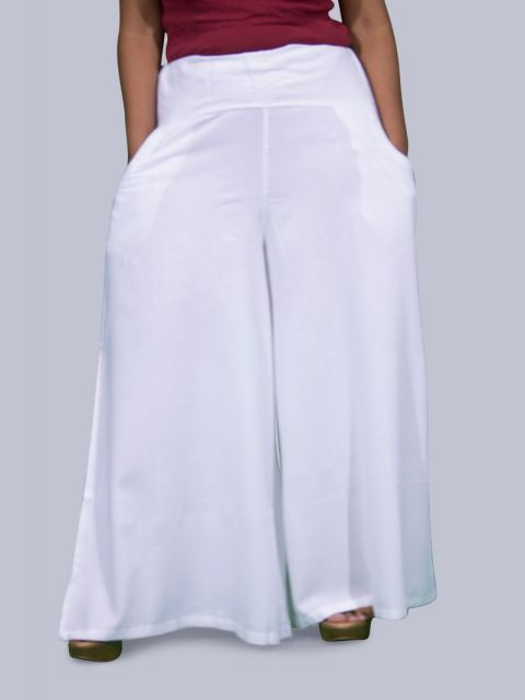 Women's Pocket Broad Belt Palazzo - White