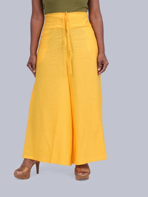 Women's Pocket Broad Belt Palazzo - Yellow