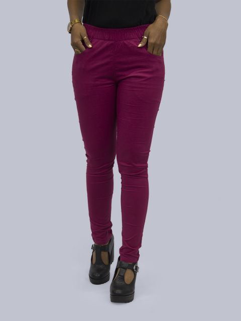 Solid Stretchable Pant - Wine