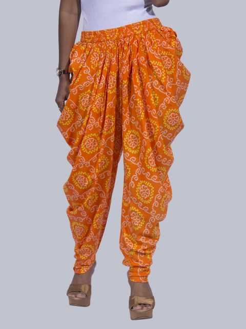 Women Bandhej Dhoti Pants - Orange