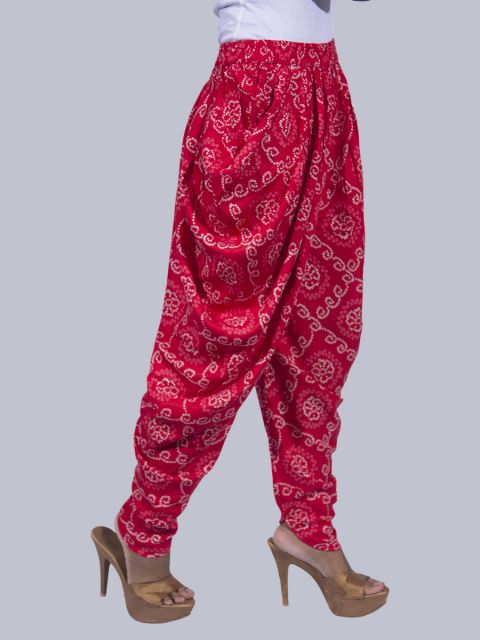 Women Bandhej Dhoti Pants - Red