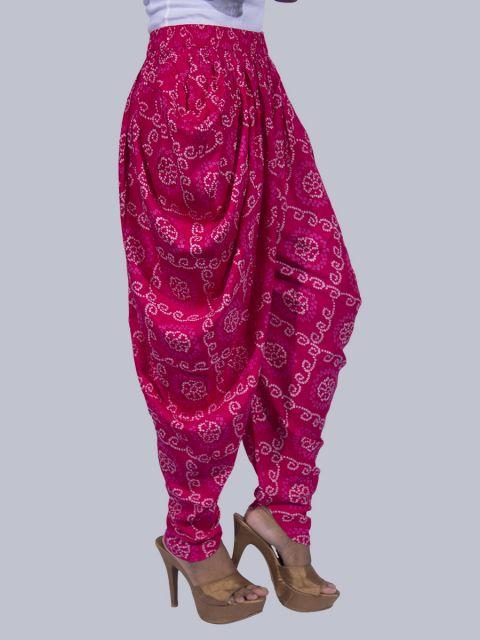 Women Bandhej Dhoti Pants - Rani Pink