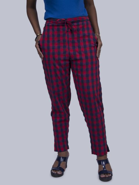 Women Chex Straight Pant - Red