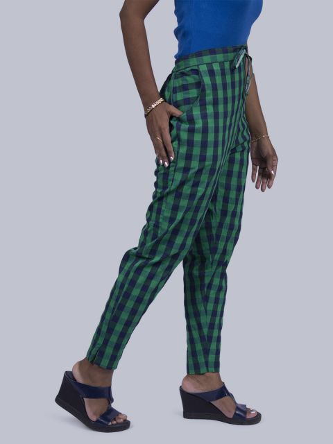 Women Chex Straight Pant - Green