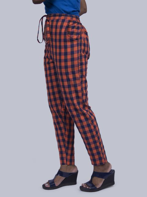 Women Chex Straight Pant - Orange