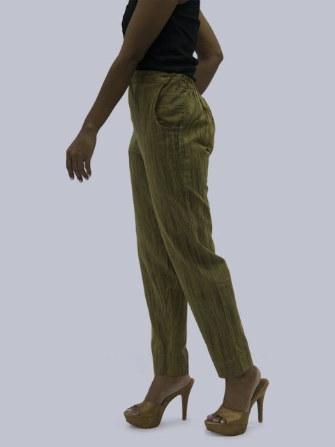 Women South Cotton Straight Pant - Olive Green