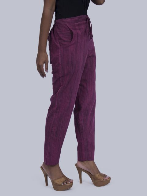 Women South Cotton Straight Pant - Violet