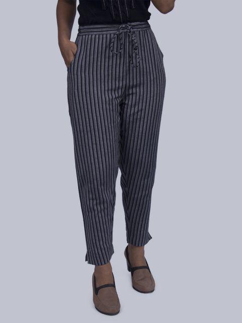 Women Black and White Striped Straight Pant - Black