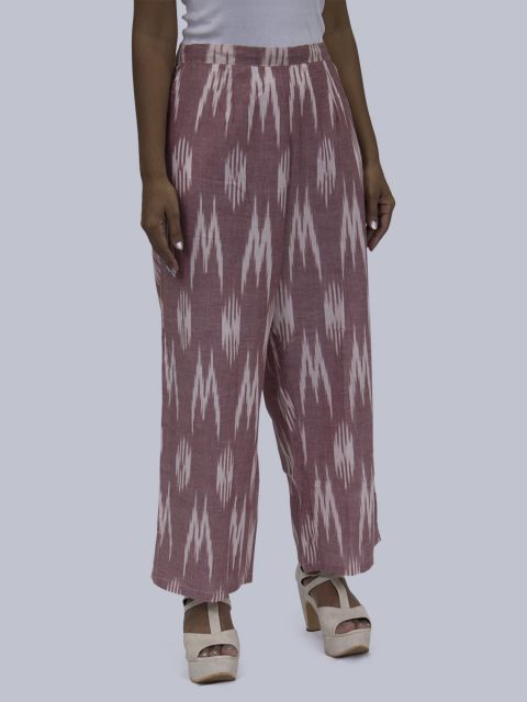 Women Ikat Print Palazzo - Light Chocolate