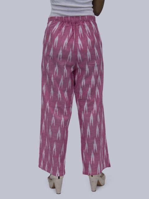 Women Ikat Print Palazzo - Light Pink