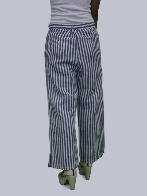 Women Striped Linen Palazzo - Blue