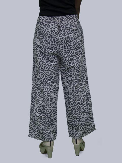 Women Leopard Print Linen Palazzo