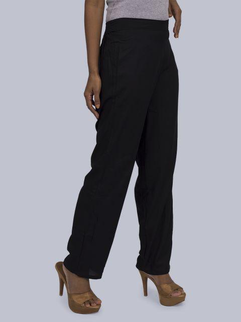 Women's Solid Pant Palazzo - Black