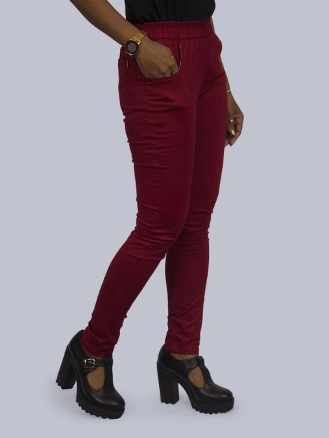 Solid Stretchable Pant - Maroon