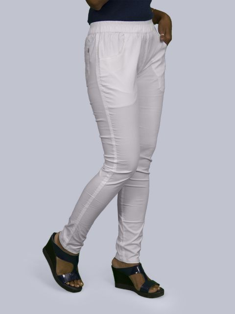 Solid Stretchable Pant - White
