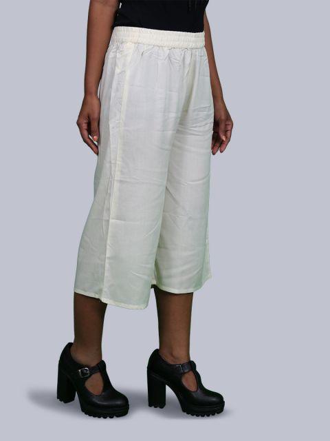 Women's Solid Culottes - Cream