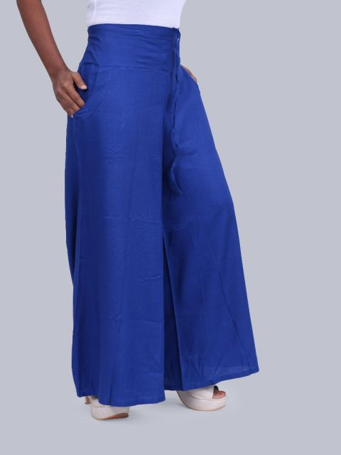 Women's Pocket Broad Belt Palazzo - Royal Blue