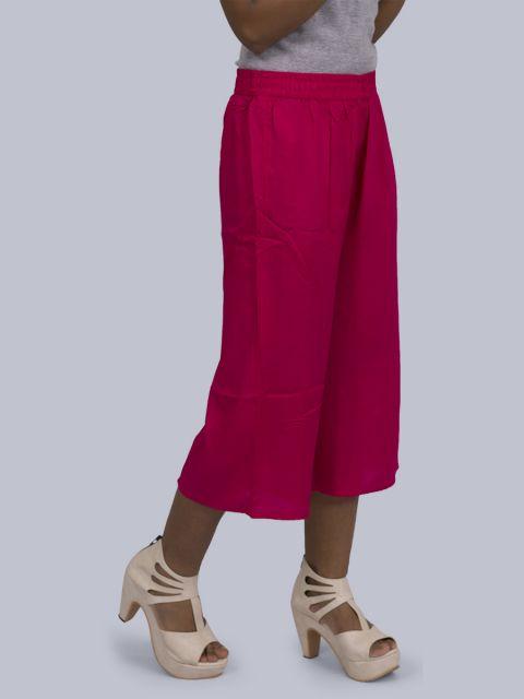 Women's Solid Culottes - Fuscia