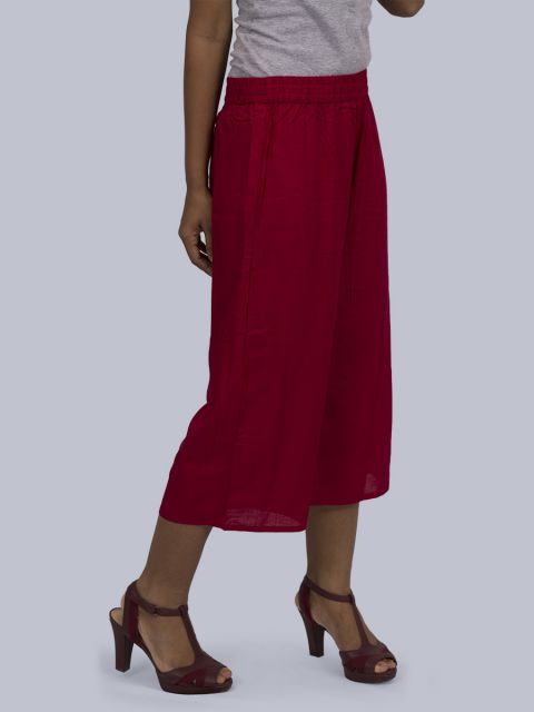 Women's Solid Culottes - Maroon