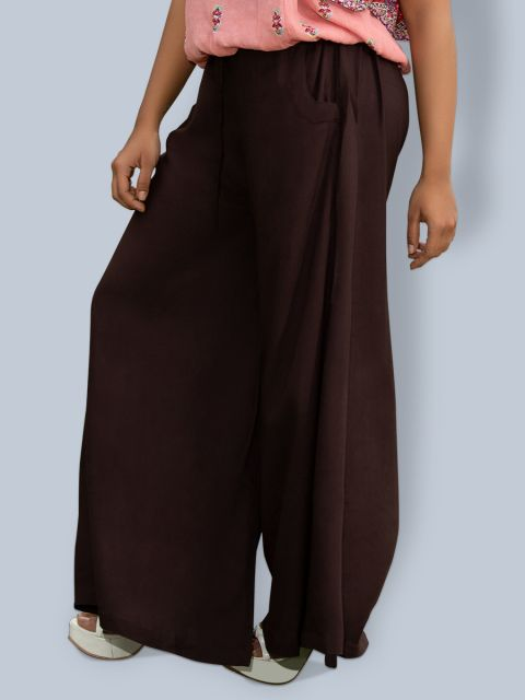 Pocket Broad Belt Palazzo - Brown