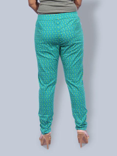 Printed Stretchable Pant - Rama Green
