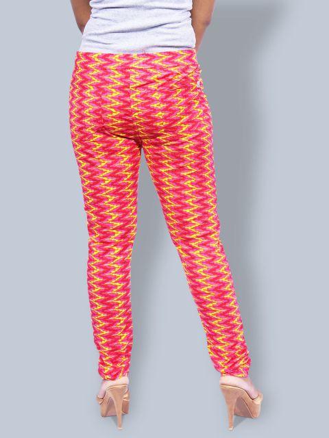 Printed Stretchable Pant - Rani Yellow