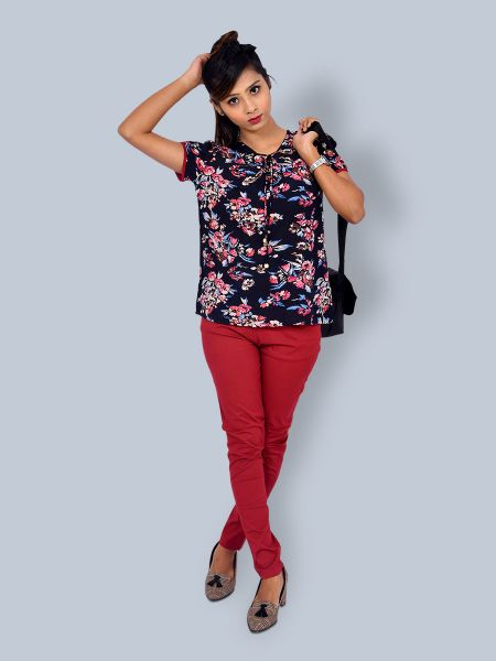 Tie Up  Knot Flower Print Top
