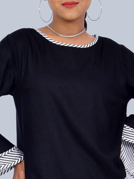 Zebra Line On Neck Full Bell Sleeves Black Top