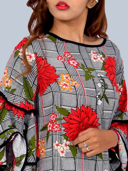 One Mtr.Layered and Flared Bell Sleeves Flower Print Tunic