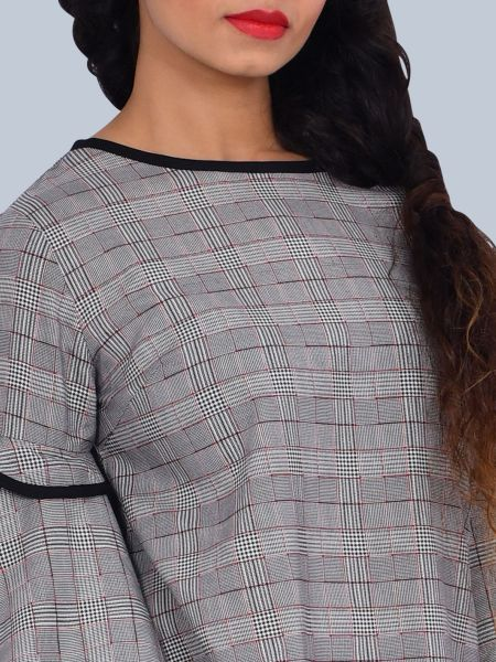 One Mtr. Layered Bell Sleeves checkered Plaid Top