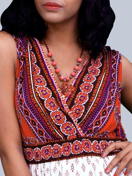 Printed Sleeveless Deep V Neck Maxi Dress